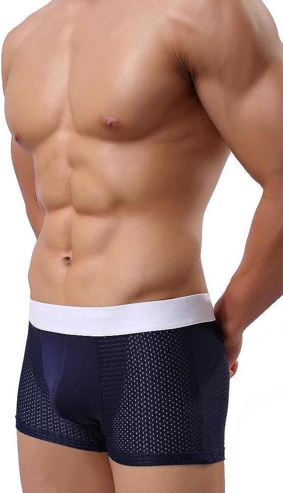 Missurous Mens Underwear Elastic Waistline Breathable Hole Boxer Trunks