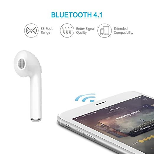 Amazon.com: Bluetooth Headphones, Haisake V4.1 Wireless Earbud Earpiece In-ear Design 4 Hours Play Time USB Charge with Mic Suit for iPhone7 Plus 6s and ...