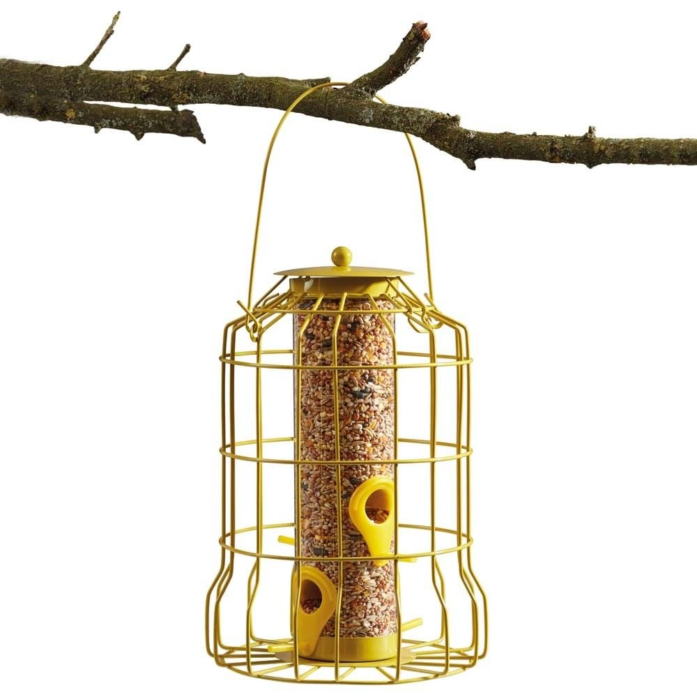 Happy Beaks Kingfisher Squirrel Proof Bird Feeder Powder Coated Caged Guard Seed Holder in Yellow by