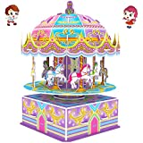 3D Carousel Puzzles for Kids Magic Carousel Music Box Dollhouse Model Whirligig Jigsaw Music Box DIY Construction Set Educational Toys Creative Games, Carousel Toy for Birthday Gift Girl Boy