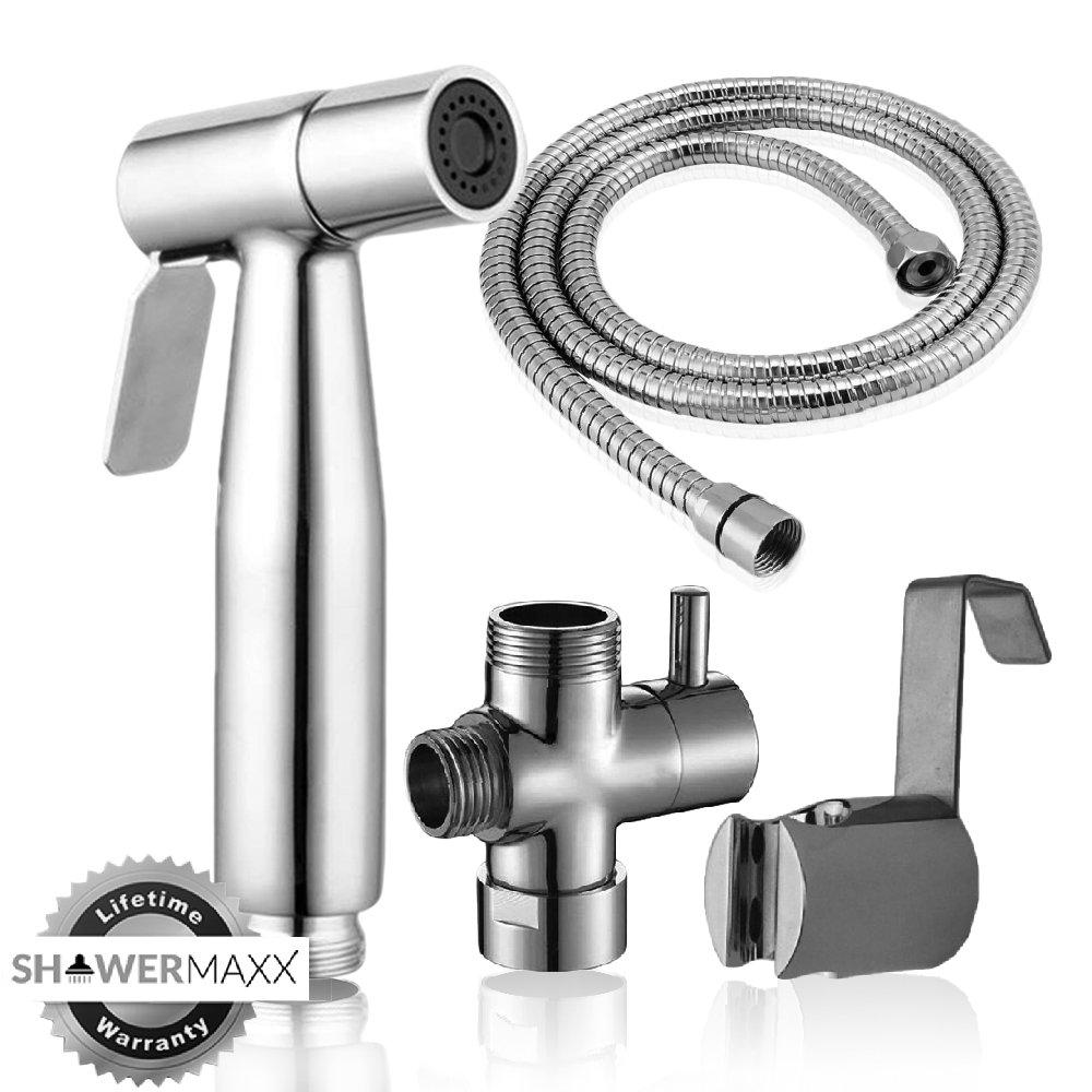 ShowerMaxx   Premium Stainless Steel Cloth Diaper Sprayer - Adjustable Handheld Toilet Bidet Water Cleaner -NEW & IMPROVED NO LEAKAGE Stainless Steel Hose, T-Valve, Tank/Wall Mount & Plumber's Tape