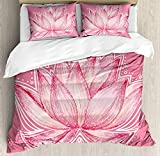 Floral Twin Duvet Cover Sets 4 Piece Bedding Set Bedspread with 2 Pillow Sham, Flat Sheet for Adult/Kids/Teens, Lotus Flower Meditation Yoga Plant Asian Zen Petal Spiritual Icon Chakra Print