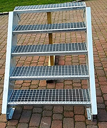 Acero Escalera exterior Escaleras mejilla Escaleras galvanizado 6 niveles GH90 – 120 cm 6 – 150 de Z: Amazon.es: Bricolaje y herramientas