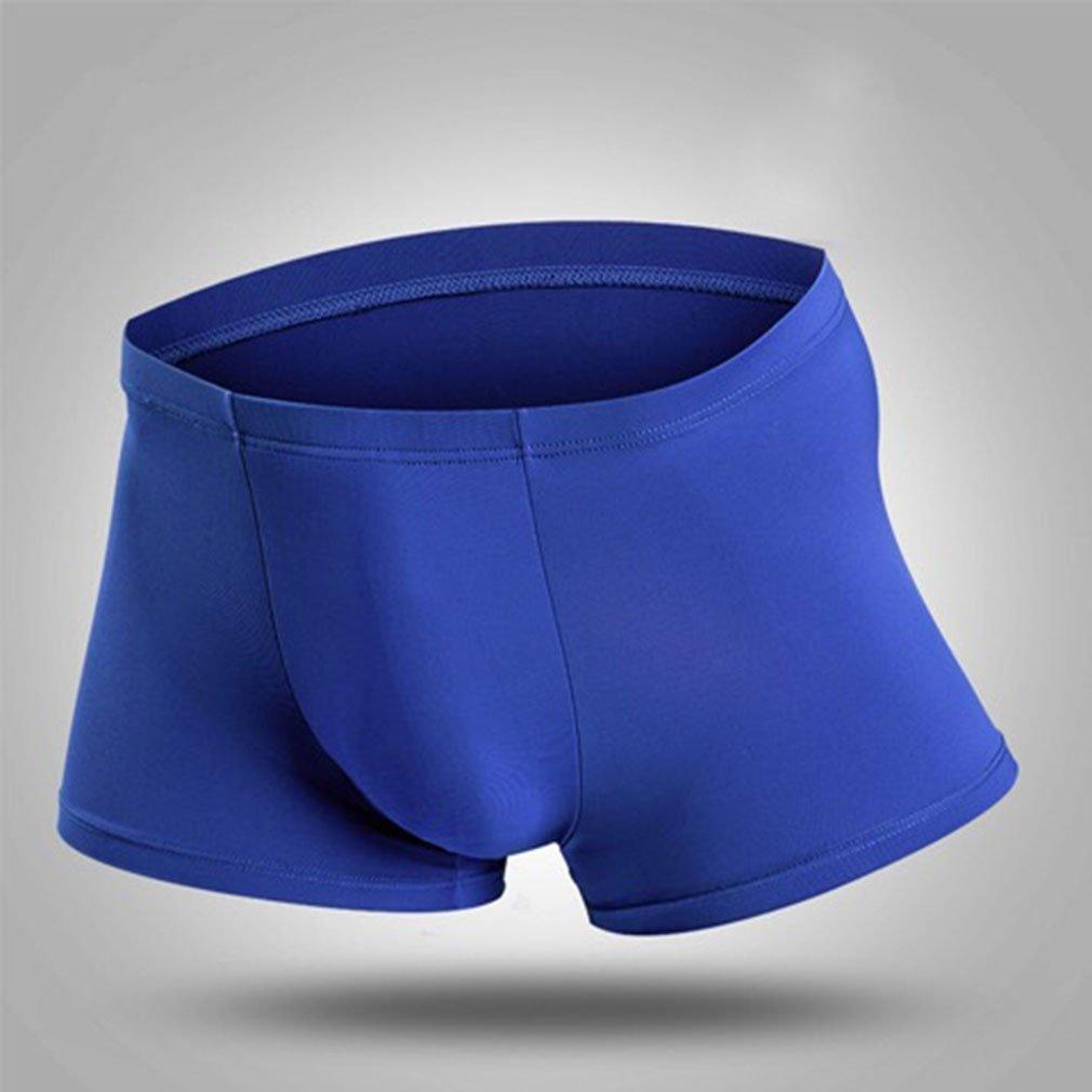 Yesiidor Hombres Sin Fisuras del Hielo de seda para Hombre muy suave tela//–/transl/úcido ultrafina Boxer Slip, azul, 2XL