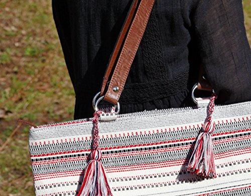 Sarah & Sally Großer Shopper mit Quasten und tollem Lederriemen Hippie Look Schultertasche Shopper Henkeltasche Tasche