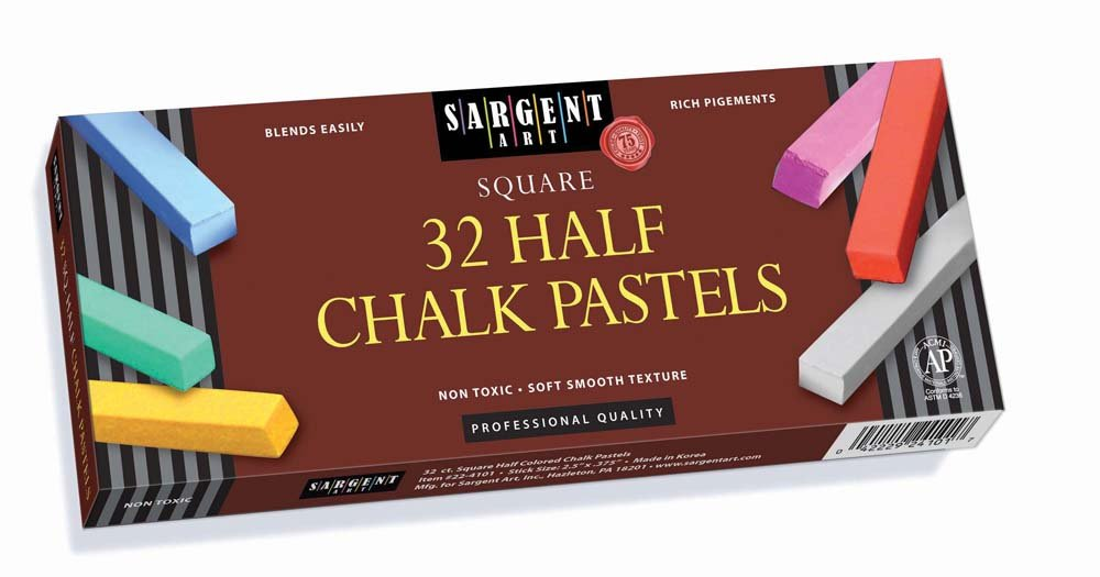 Sargent Art 22-4101-32 Count Colored Half Square Chalk Pastels