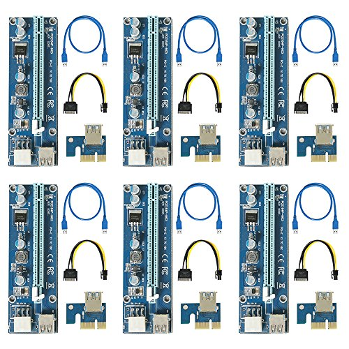 60 CM CAVO USB 3.0 3 Power 6 Ubit 12-PCS Pcie Riser Board con luce a LED