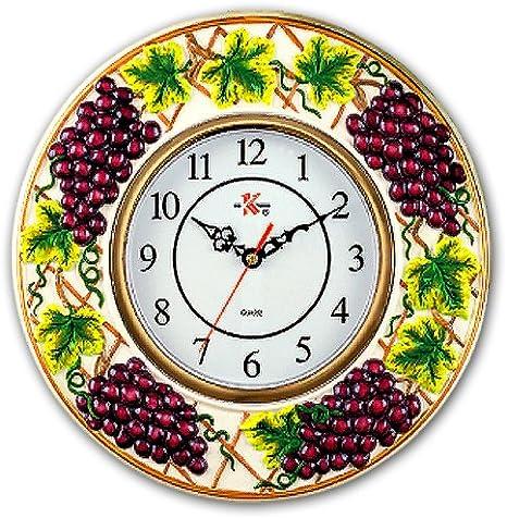 Amazon Com Kkm Wine Grapes Decorative Novelty Fruit Fruity Themed Wall Clock Kitchen Home Decor Vineyard Theme Purple Shape Shaped New