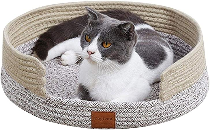 Cama para Perros, Nido de Gato, Arena para Gatos, Cesta de Tejido de Hilo de algodón para Mascotas ecológica, Tablero de arañazos para Mascotas 38 38 12 cm: Amazon.es: Coche y moto