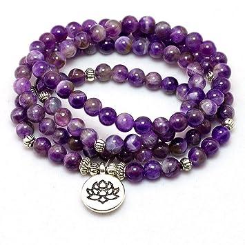 CXKNB Natural Purple Crystal Chakra 108 Buddha Mala Pulsera ...
