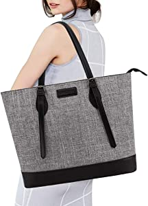 UMIULES Laptop-Bag-for-Women 15.6-Inch Adjustable Shoulder Strap Work-Tote-Bag Lightweight Teacher-Bag Business Casual Nylon Computer-Bags for Work School Travel