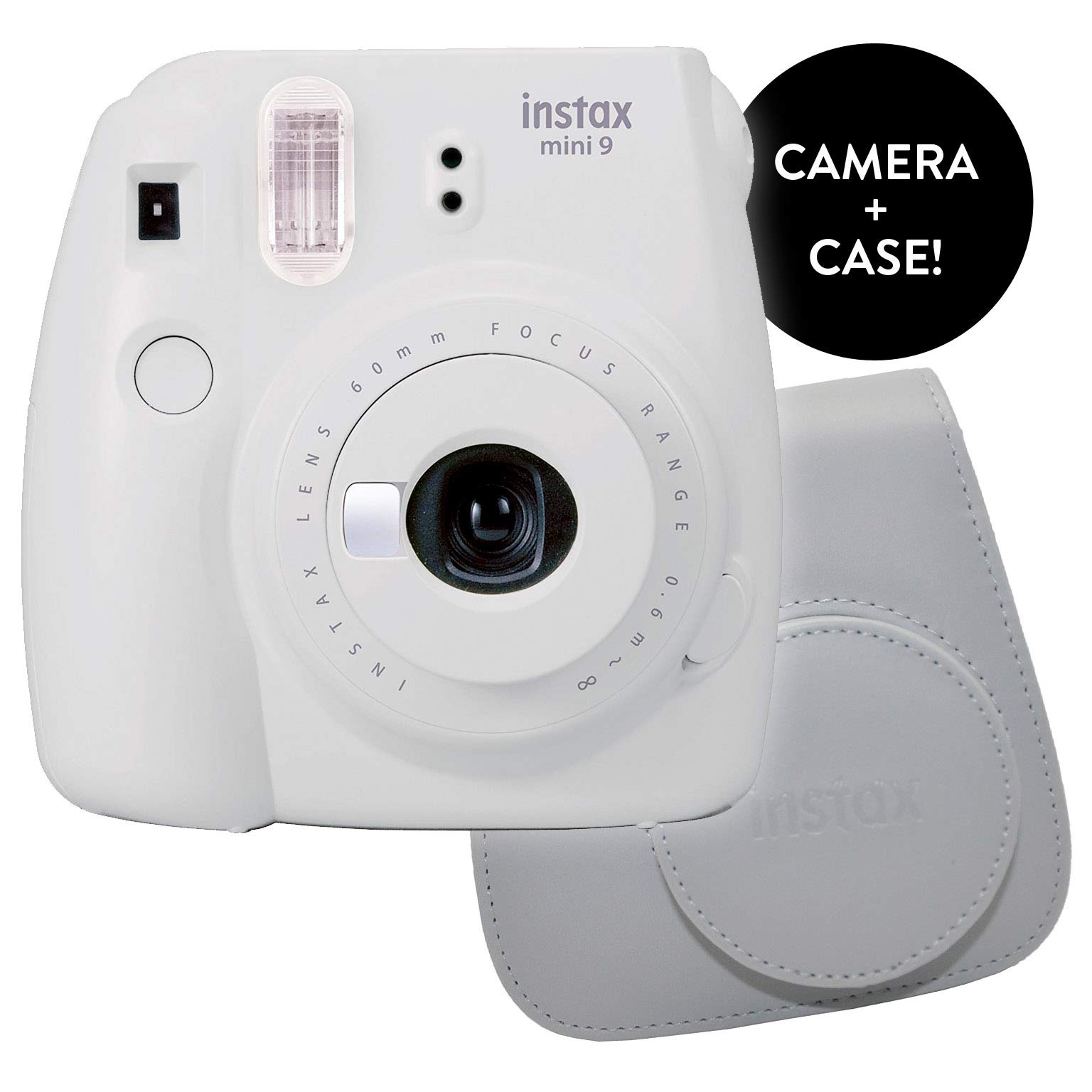 Fujifilm Instax Mini 9 Instant Camera - Renewed with New Instax Mini 9 Groovy Camera Case | Matching Colors for Case and Mini 9 Camera + Amazing Cleaning Cloth (Smokey White)