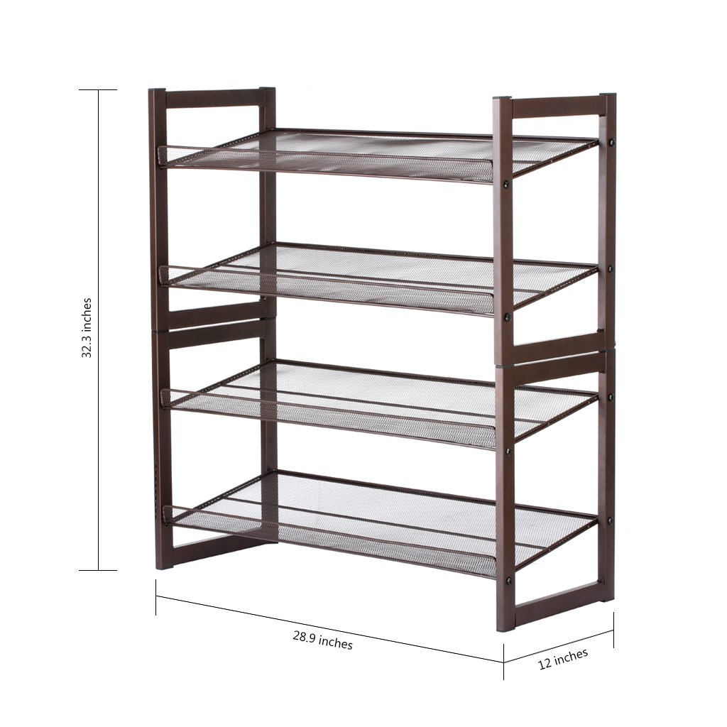 Amazon.com: Floureon 4-Tier Metal Mesh Utility Shoe Rack Storage ...