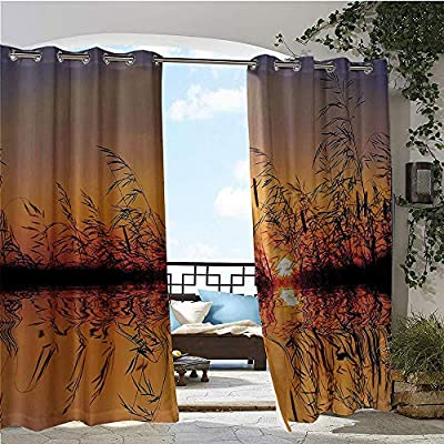 GUUVOR Exterior/Outside Curtains, Lake Sunset with Long Reeds Romantic Botanical Ombre Like Scenery Photo Image, for Patio Light Block Heat Out Water Proof Drape Multicolor