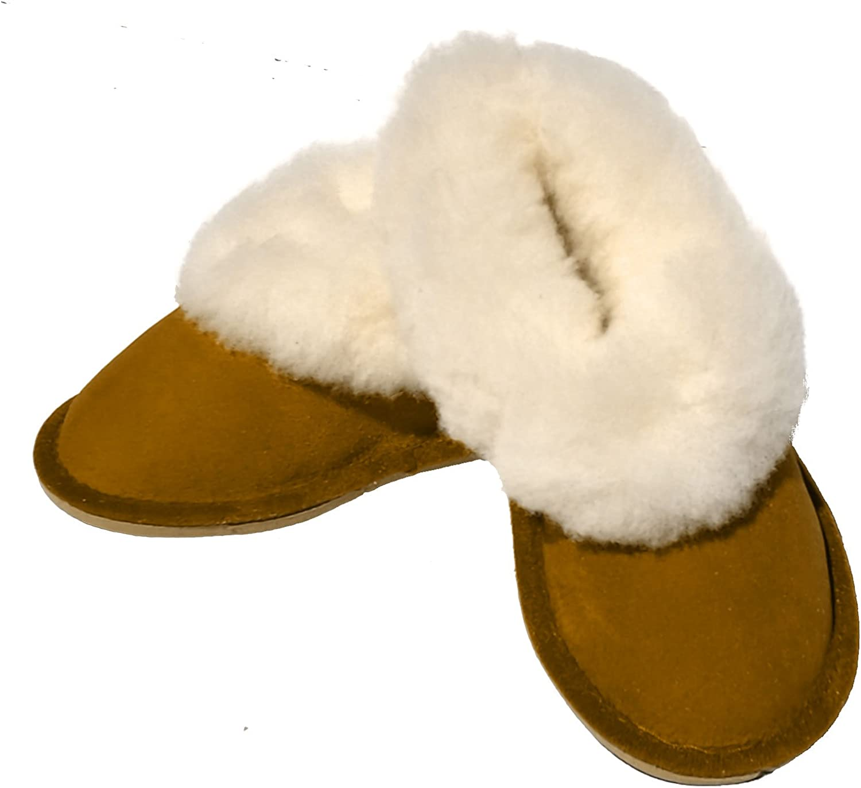 chaussons enfants gar/çons camel fourr/és peau de mouton tannage naturel