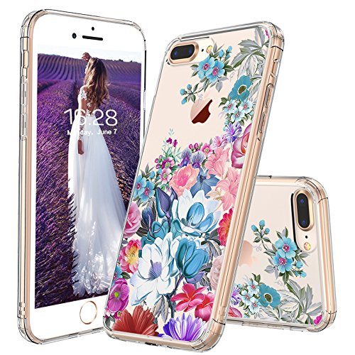 iPhone 7 Plus Case, iPhone 8 Plus Case, MOSNOVO Floral Flower Garden Pattern Printed Clear Design Plastic Case with TPU Bumper Protective Case Cover for iPhone 7 Plus/iPhone 8 Plus