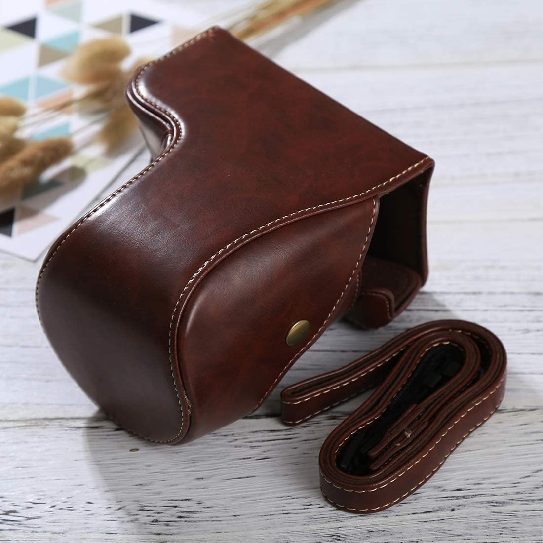 A6500 Black MEETBM ZIMO,Full Body Camera PU Leather Case Bag with Strap for Sony ILCE-6500 Color : Coffee