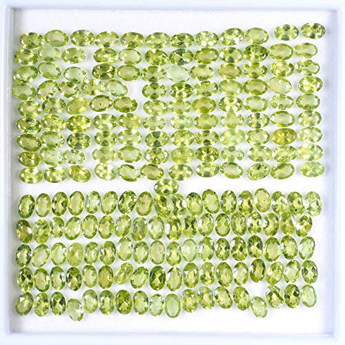 - 100.30 Cts/199 Pcs Unheated Natural Peridot Finest Green Sparkling Gems Oval Cut