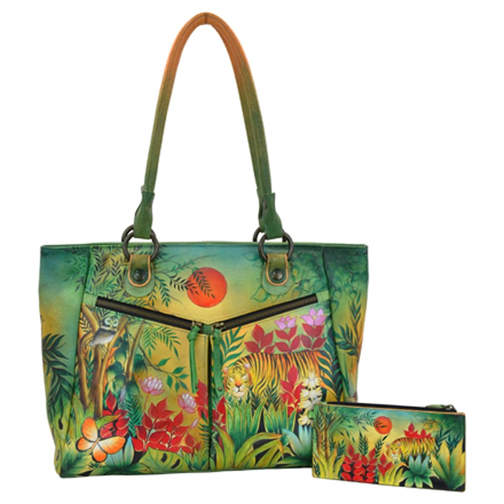 Anuschka Handbag and Wallet Large Leather Shopper Front Pocket (Rousseau's Jungle)