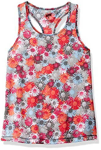 Soffe Girls' Performance Racer Tank Top, Summer Daisy, - Summer Daisy