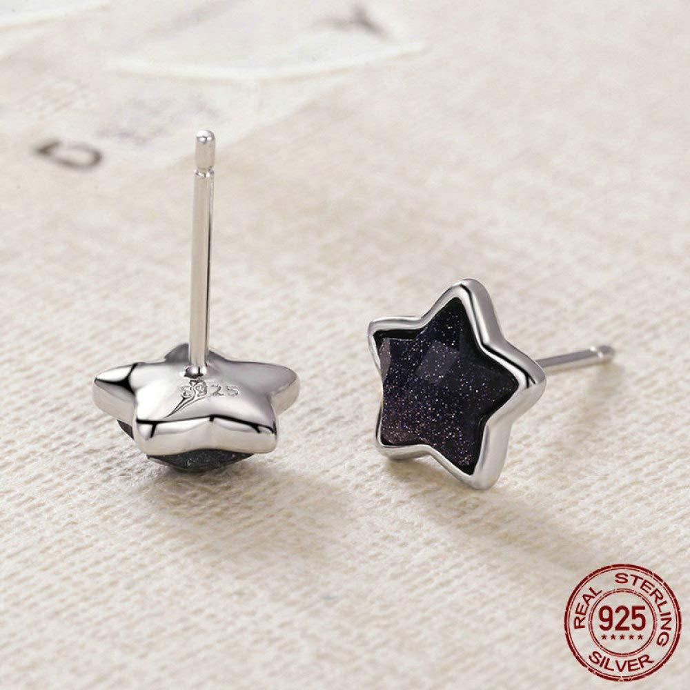 0,9 CM*0,9 cm NIU Negro Estrella Pendientes Plata Esterlina 925 Pendientes para Mujer Moda Tendencia Arete Personalidad Hipoalerg/énico Arete Regalos Hermana//Como se muestra