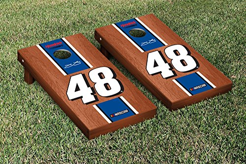 NASCAR Jimmie Johnson #48 Cornhole Game Set Rosewood Stained Stripe Version Jimmie Johnson Bean Bag