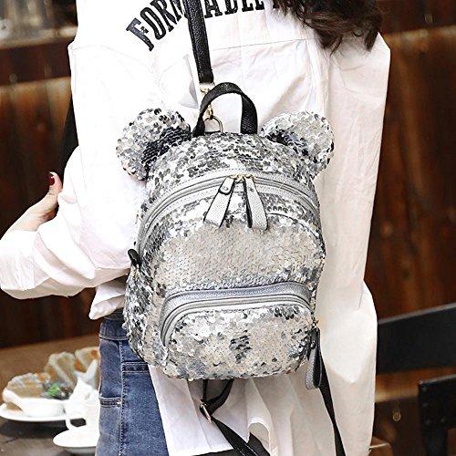Prosperveil Silver Mini School Bags Shining Travel Girls Party Teenage Women Backpacks Sequins rrpUaq
