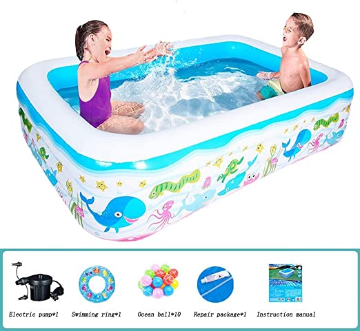 JINMM Piscina Hinchable Familiar,Piscinas Easy Set Rectangular ...
