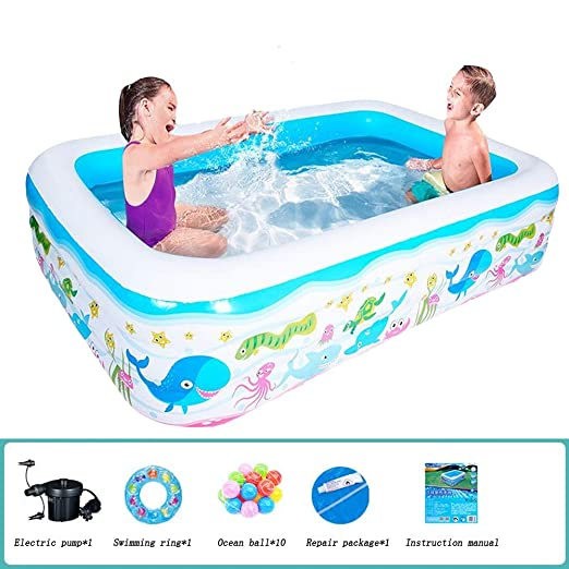 SKY FLY Piscina Hinchable Familiar,Piscinas Easy Set Rectangular ...