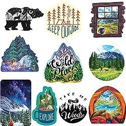Wilderness Nature Sticker Art Pack - 10 pcs - mountain tough outdoor stickers, waterproof vinyl.