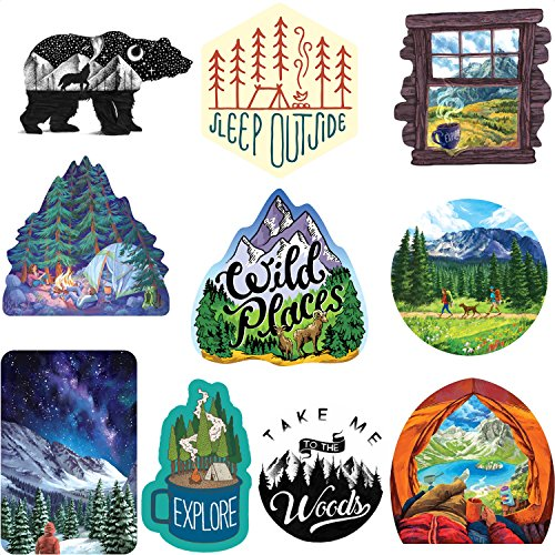 - Wilderness Nature Sticker Art Pack - 10 pcs - mountain tough outdoor stickers, waterproof vinyl.