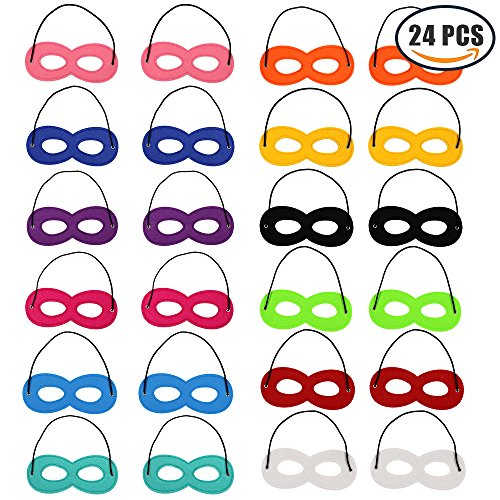 Md trade 24Pcs Superhero Masks Cosplay Half Mask With Elastic Rope For Party, Multicolor