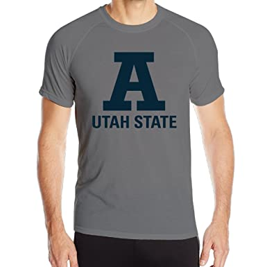 TTat Mens Utah State Aggies A Wordmark Jersey Logo Quick Dry Athletic Tshirt Small