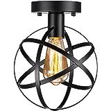 Pynsseu Industrial Retro Style Semi-Flush Mount Ceiling Light, Vintage Metal Spherical Ceiling Lighting Fixture for Kitchen H