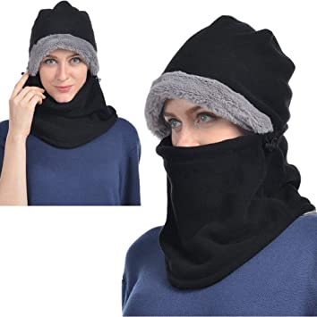 Black Winter Hats for Women Fleece Balaclava Hood Thermal Womens Balaclavas  Ear Warmers Ski Face Cover a9e780fa4