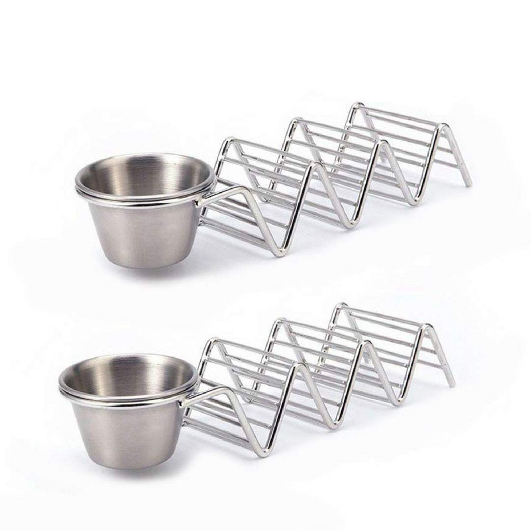 SODIAL Tacos Holders Premium Stainless Steel Tacos Rack Holder Food Rack Tray for 3 Soft or Hard Taco Shells 2 pcs