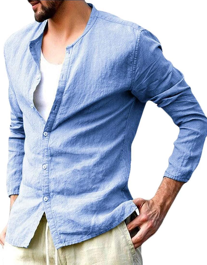 Generic Mens Shirts Cotton Linen Casual Button Down Long Sleeve Regular Fit Shirts