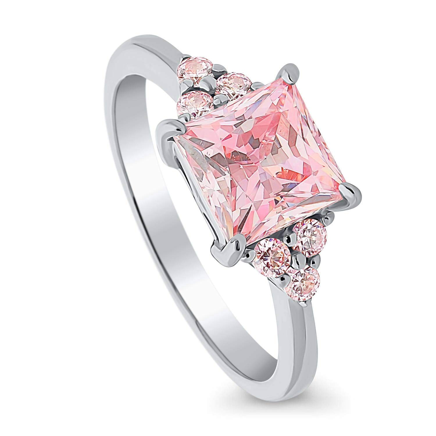 BERRICLE Rhodium Plated Sterling Silver Solitaire Promise Engagement Ring Made with Swarovski Zirconia Pink Princess Cut 2.18 CTW Size 5