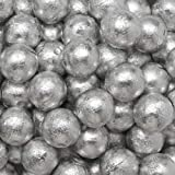 Individually Wrapped Foil Covered Chocolate Caramel Balls in a Variety of Colors - Bulk Wholesale (Silver, 2 Pounds)