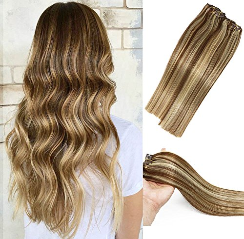 Human Hair Extensions Clip in Light Brown to Blonde Highlights 6P613 Double Weft Brazilian Hair Clip on Balayage Ombre Hair Extensions 20 inch 7 PCS Full Head Silky Straight 70g Remy Hair