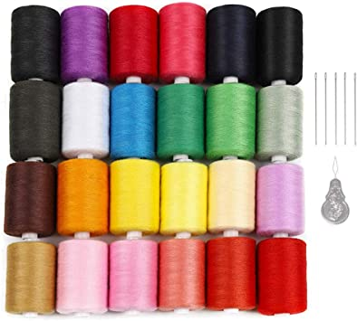 Polyester Thread 24 Colors 1000 Yards Each Spools for Hand /& Sewing Machine NEX Sewing Thread Kit