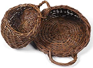 Gorge-buy 2 Pack Handmade Flowers Wall Mounted Basket,Retro Idyllic Woven Hanging Basket,Natural Wicker Rattan Plant Pots Hanging Vase Container for Home Garden Wedding Wall Decoration