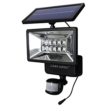 Gama Sonic Outdoor Solar Security Light With Motion Sensor, Black