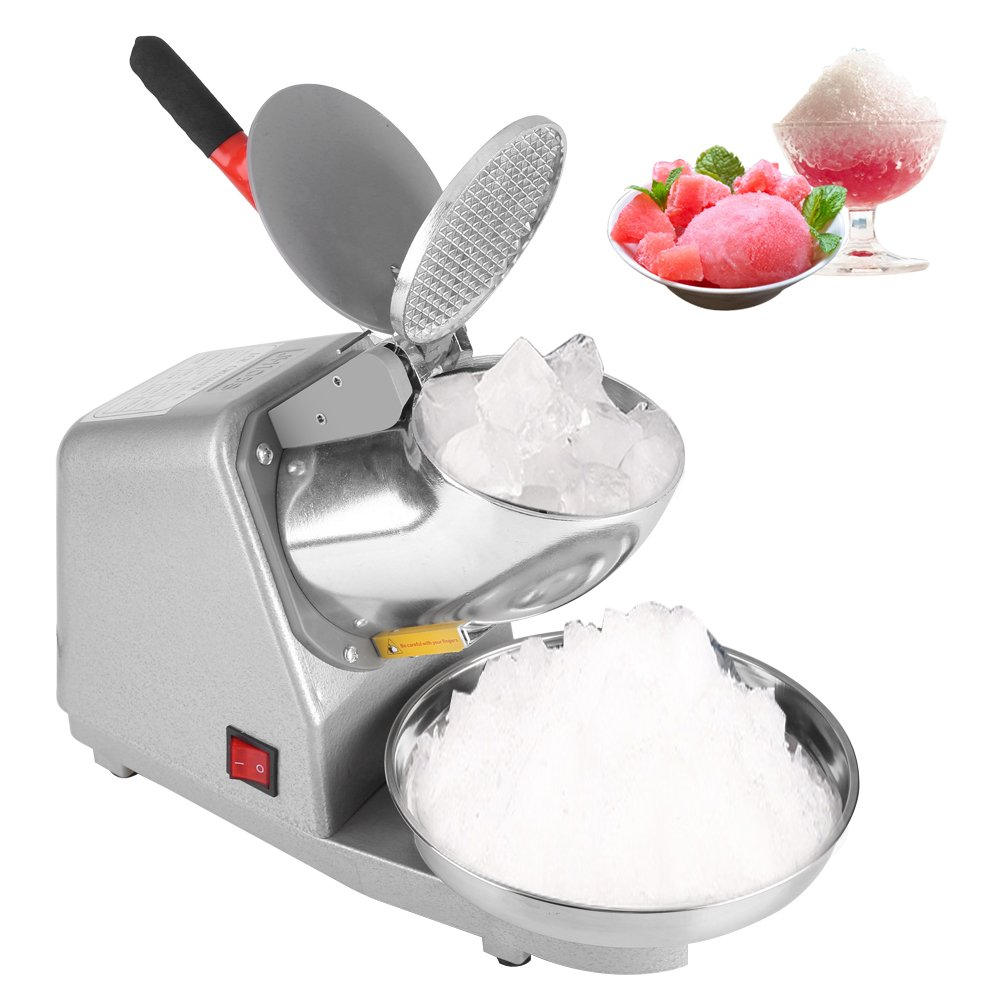 Electric Ice Crusher Manual Electric Ice Crusher Stainless Steel Blade Shaver Snow Cone Maker Machine 110V for Party Restaurant Home Use Commercial by EBTOOLS