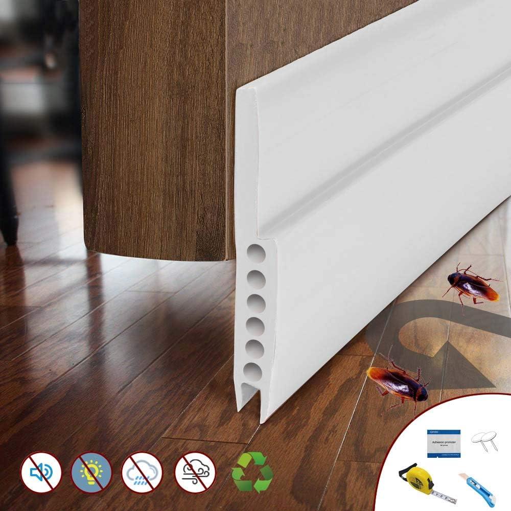 Kit de tiras de sellado para puerta de cochera de silicona resistente a la intemperie con tira adhesiva 3M de alta calidad para puertas interiores y exteriores, blanco: Amazon.es: Bricolaje y herramientas