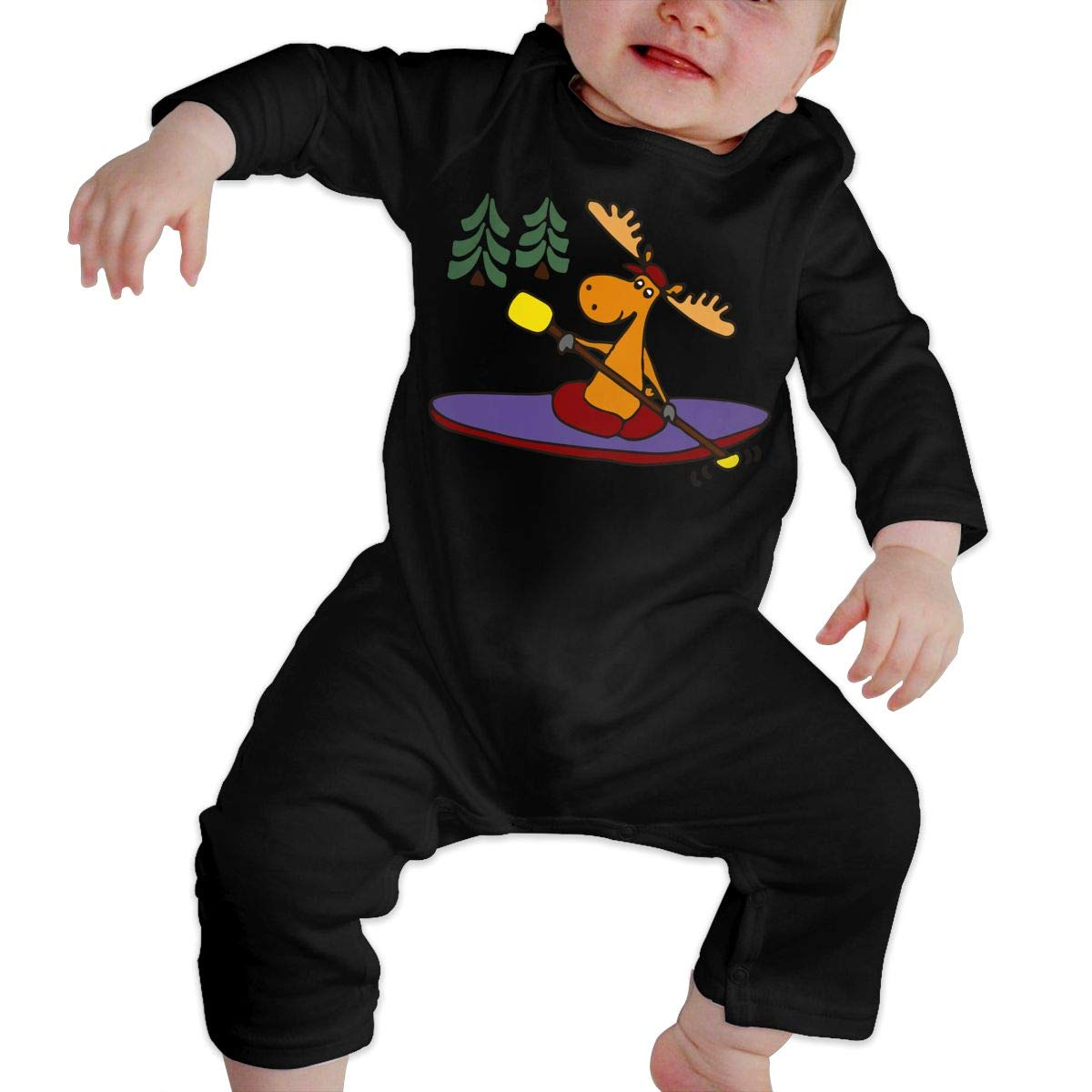 UGFGF-S3 Kayaking Moose Baby Boy Girl Long Sleeve Bodysuit Bodysuits Onsies