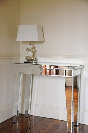 Portofino Contemporary Mirrored Dressing Table Console Table with ...