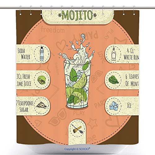 Funky Shower Curtains Stock Popular Alcoholic Cocktail Mojito With A Detailed Recipe And Ingredients In A Series Of World 290288369 Polyester Bathroom Shower Curtain Set With Hooks
