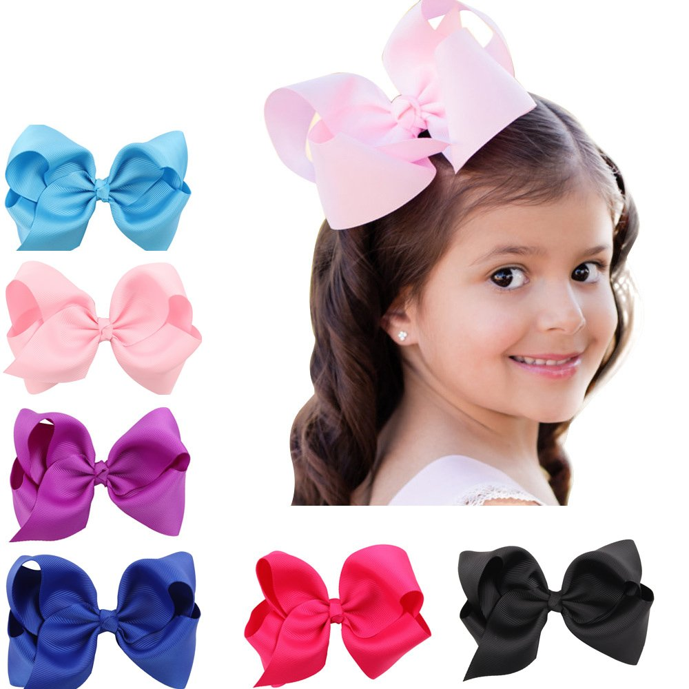 6 Piece (Large size-3.5\') Boutique Barrettes Colors Hair Clips Hair Accessory Bow Butterful Knot Cute Ribbon Hairwear for Child Baby Girl (Bow Hair Clip) YousonGirl