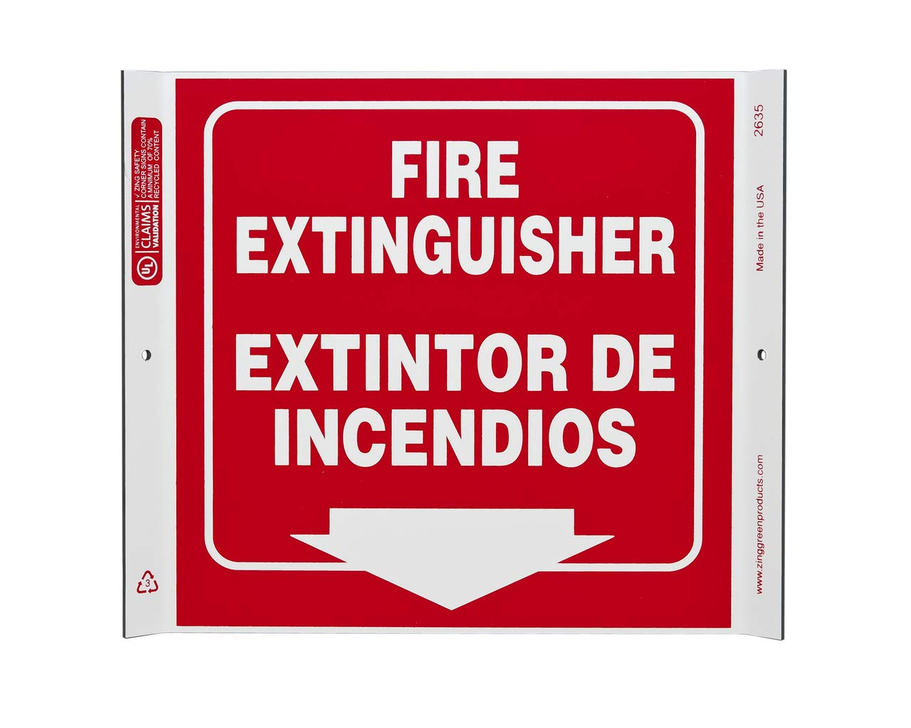 ZING 2635 Señal de esquina, extintor bilingüe, 10 x 10 W ...